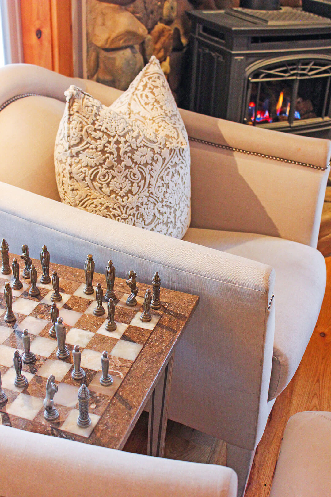 Lounge Chair, Fireplace and Chessboard Table